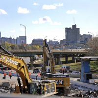 Death threats and union battles: Doug Barth couldn't get rid of the Mass. Pike tolls, which have now outlived the tollbooths. Pictured: Toll booths are dismantled as all-electronic tolling is underway on the Massachusetts Turnpike, Monday, Oct. 31, 2016, in Boston. There are no more cash tolls. Motorists with E-Z Pass transponders will be charged automatically as they pass under one of the 16 electronic gantries on the 135-mile highway. Those without transponders will be billed by mail. (Elise Amendola/AP)