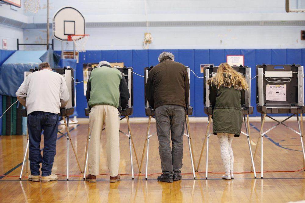 Pictured: People vote at the John F. Kennedy Elementary School in Canton, Mass., Tuesday, Nov. 8, 2016. (Michael Dwyer/AP)