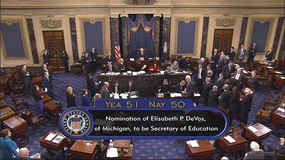 The new education secretary and Trump's Supreme Court nominee don't seem to value special education. And the Supreme Court is about to consider an important case. Pictured: In this image from video, provided by Senate Television shows Vice President Mike Pence presiding over the Senate on Capitol Hill in Washington, Tuesday, Feb. 7, 2017, during the Senate's vote on Education Secretary-designate Betsy DeVos. The Senate confirmed DeVos with Pence breaking a 50-50 tie. (Senate Television via AP)