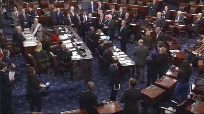 This image from video, provided by Senate Television, shows Vice President Mike Pence presiding over the Senate during the Senate's vote on Trump's nominee for education secretary, Betsy DeVos. The Senate confirmed DeVos with Pence breaking a 50-50 tie. (Senate Television via AP)
