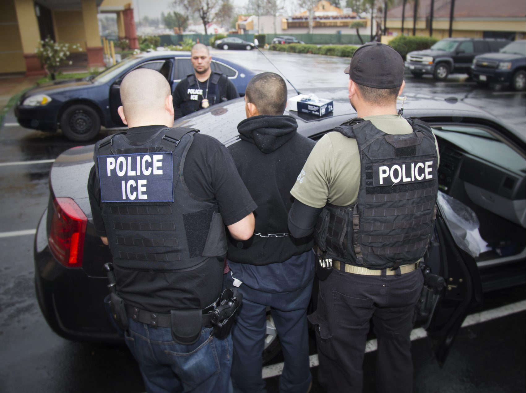 ICE officials arrest a foreign national in Los Angeles on Feb. 7, 2017. (Charles Reed/U.S. Immigration and Customs Enforcement via AP)