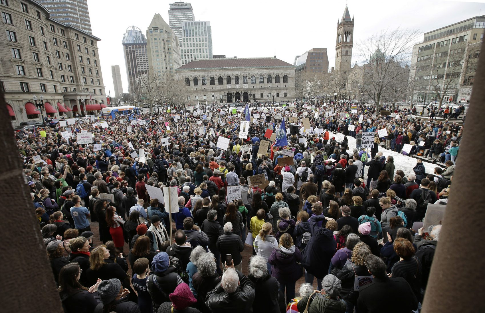 "The ""Stand Up for Science"" rally Sunday in Copley Square (Steven Senne/AP)"