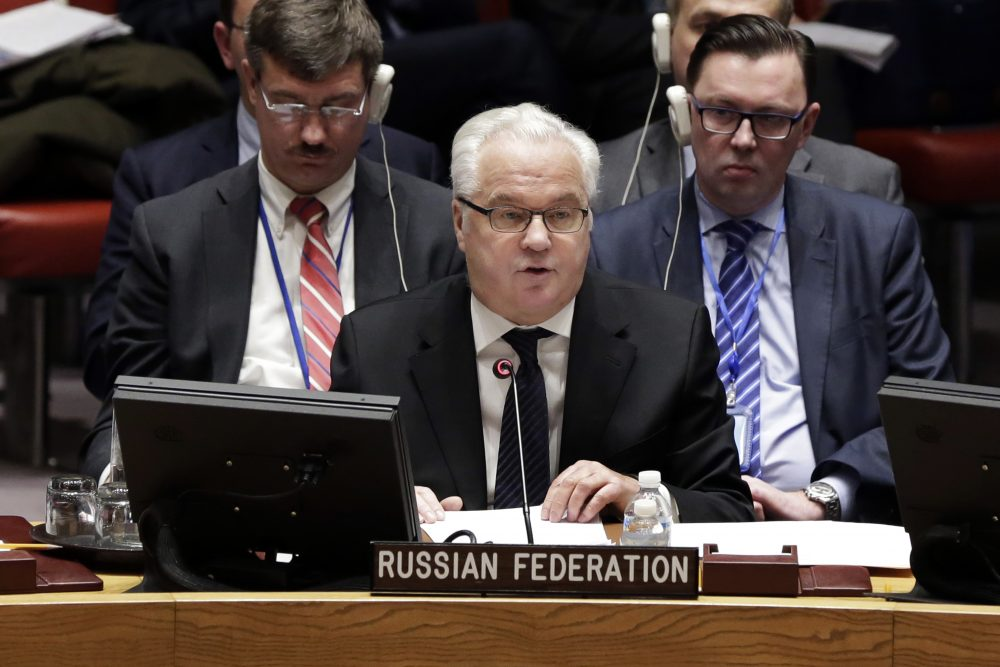 In this Thursday, Feb. 2, 2017, file photo, Russia's Ambassador to the U.N. Vitaly Churkin addresses a Security Council meeting at the United Nations. Russian officials said their ambassador to United Nations, Churkin, has died in New York City on Monday, Feb. 20, 2017. (Richard Drew/AP)