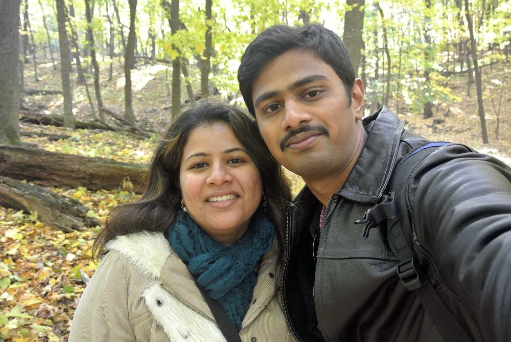 "Those who see brown skin as a threat don't care about my papers, my religion or my country of origin, writes Neema Avashia. In this undated photo, Srinivas Kuchibhotla, right, poses for a photo with his wife Sunayana Dumala in Cedar Rapids, Iowa. In the middle of a crowded bar, Adam Purinton yelled at two Indian men - Kuchibhotla and Alok Madasani - to ""get out of my country,"" witnesses said, then opened fire in an attack that killed one of the men and wounded the other, as well as a third man who tried to help, Thursday, Feb 23, 2017, in Olathe, Kan. (Kranti Shalia via AP)"