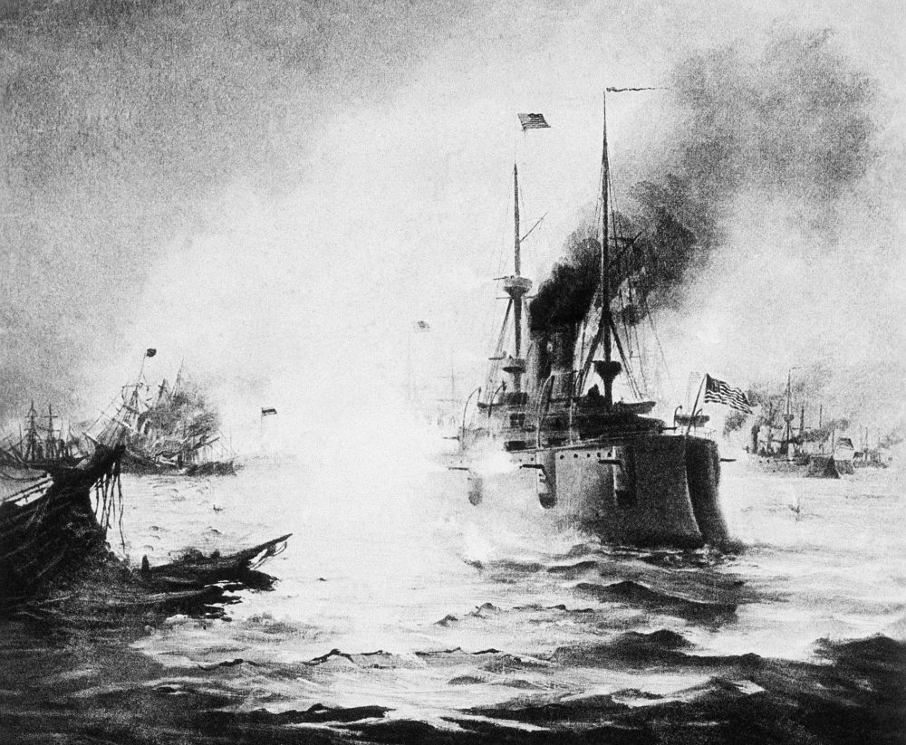 Spanish and U.S. ships battle during the Spanish American War in the waters off Manila, the Philippines, 1898. (AP Photo)