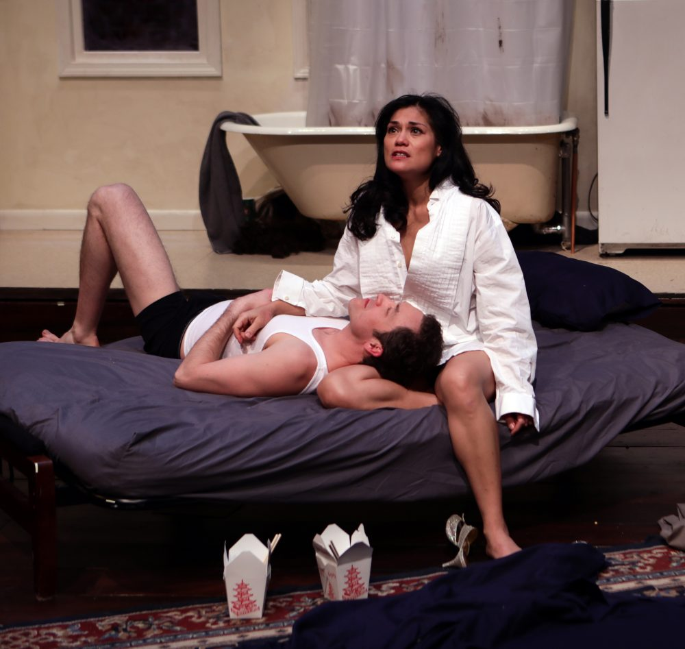 "Alexander Platt as He and Celeste Oliva as She in ""Stage Kiss."" (Courtesy Mark S. Howard/Lyric Stage Company)"