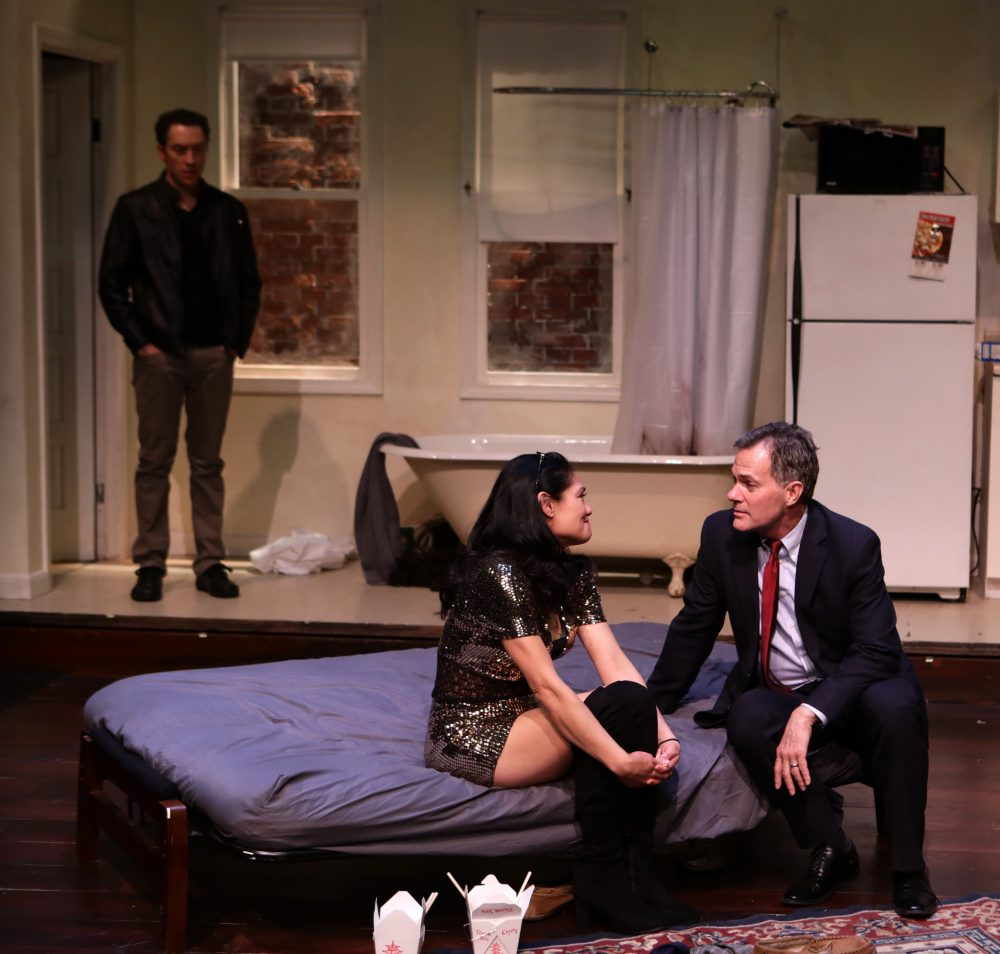 "Alexander Platt, Celeste Oliva and Craig Mathers in ""Stage Kiss."" (Courtesy Mark S. Howard/Lyric Stage Company)"