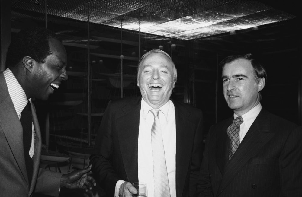 National Urban League President Vernon Jordan Jr., left, and William F. Buckley Jr., host and inquisitor of the public television show Firing Line, find something to laugh about at the 15th birthday celebration of the show in New York, Tuesday, Feb. 25, 1981. Jordan was one of 48 guests on the show who had come to celebrate with Buckley. (Kaye/AP)