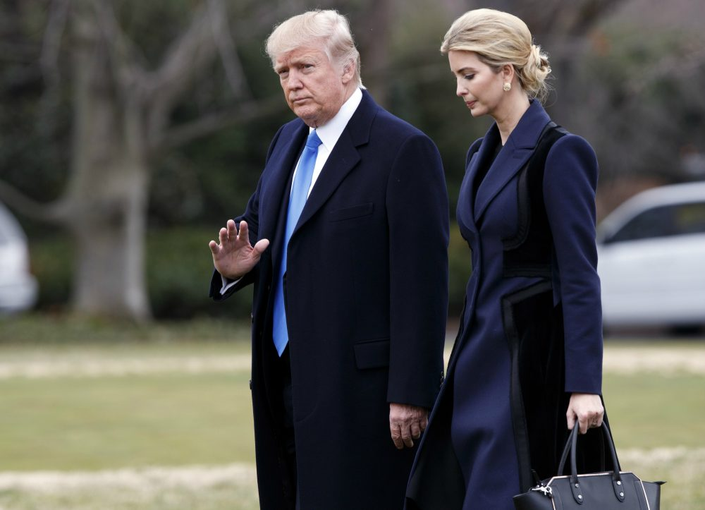 Problematic as she is, writes Joanna Weiss, Ivanka Trump is a bridge between a weird, wild White House and the daily needs of more than half the nation. Pictured: President Donald Trump, accompanied by his daughter Ivanka, waves as they walk to board Marine One on the South Lawn of the White House in Washington, Wednesday, Feb. 1, 2017. (AP Photo/Evan Vucci)