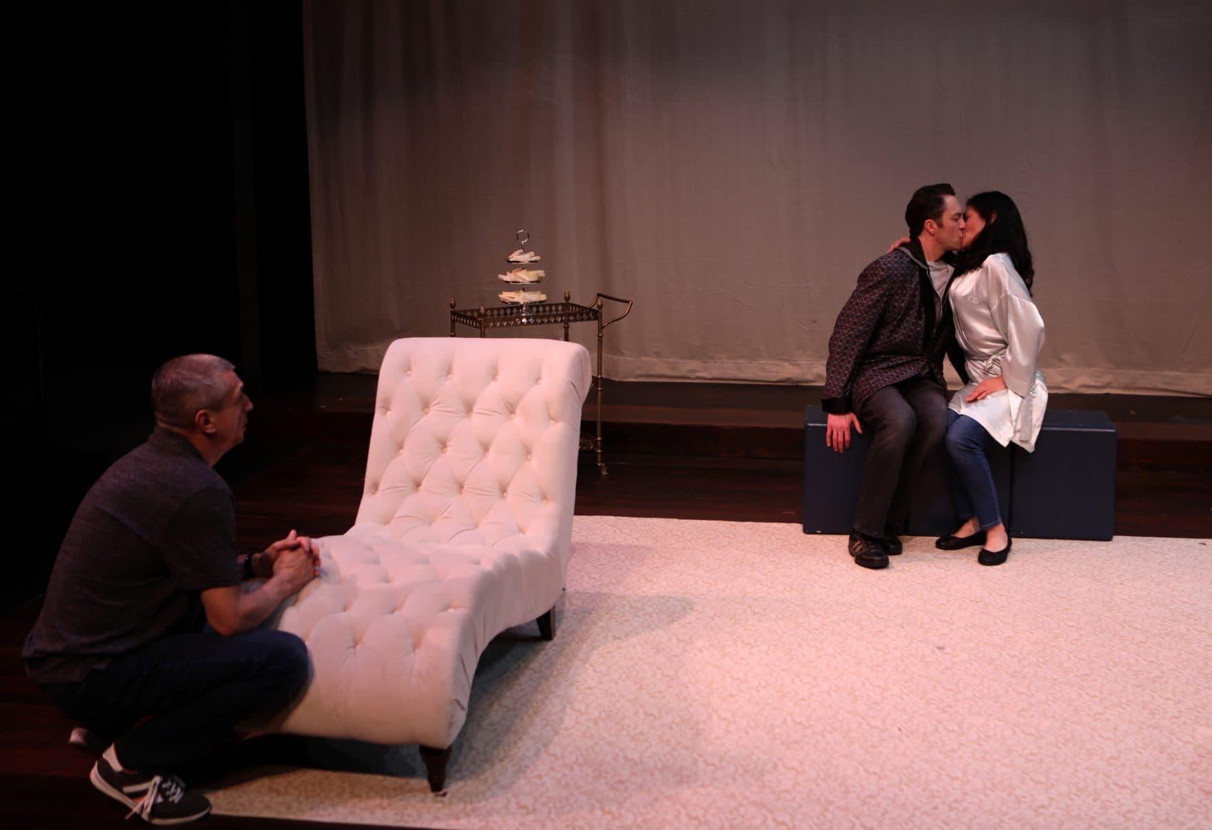 "Will McGarrahan, Alexander Platt and Celeste Oliva in ""Stage Kiss."" (Courtesy Mark S. Howard/Lyric Stage Company)"