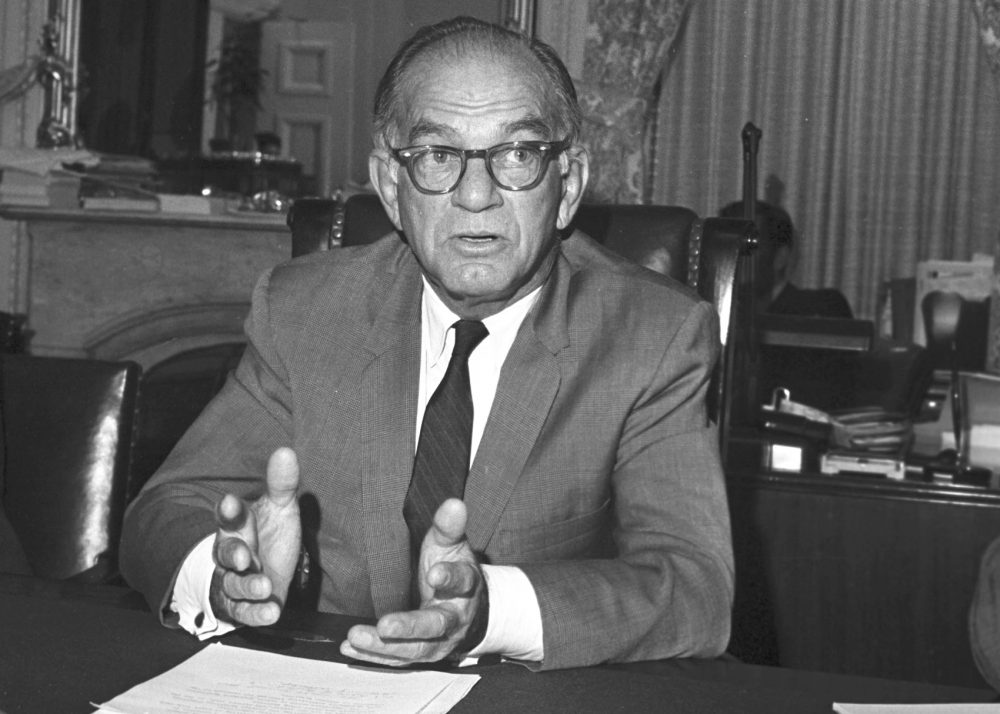 "Sen. William Fulbright, seen here in 1971, wrote in 1966 that criticizing the government ""is an act of patriotism."" (Henry Griffin/AP)"