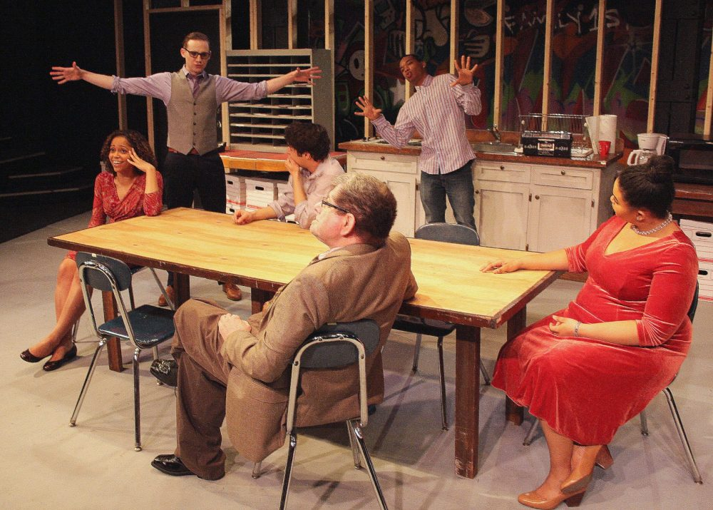 "The cast of Zeitgeist Stage Company perform ""Exit Strategy"" at the Boston Center for the Arts in the South End. Zeitgeist is a longtime resident company there. (Courtesy Richard Hall/Silverline Images)"