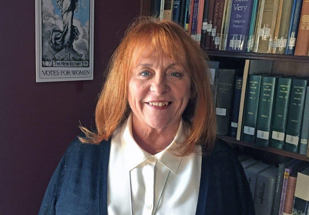 Novelist Brunonia Barry at the Salem Athenaeum on Monday, February 20, 2017. (Alison Bruzek/WBUR)