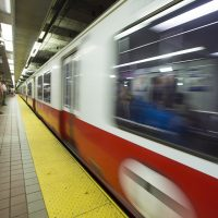 A Red Line train pulls into South Station bound for Alewife Station. (Jesse Costa/WBUR)