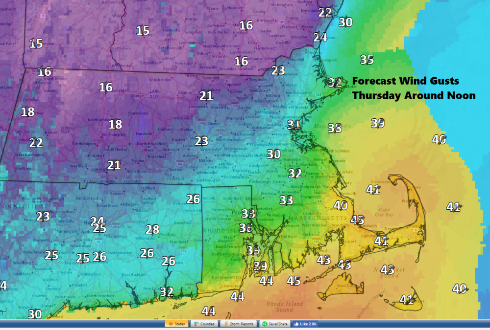 Winds will be strongest along the coastline Thursday midday to early afternoon. (Dave Epstein/WBUR)