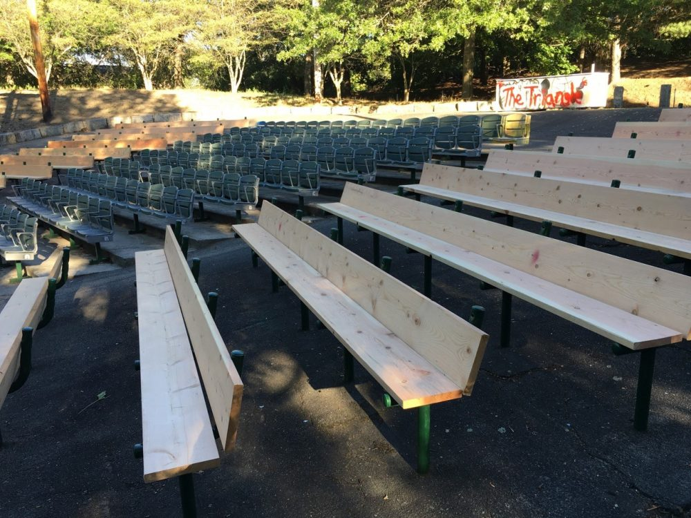 New benches at the Herter Park amphitheater during the start of renovation over the summer. (Courtesy Friends of Herter Park)