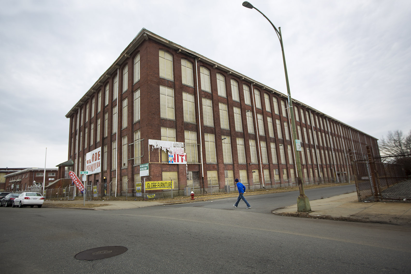 On March 6, 2007, agents raided the Michael Bianco Inc. plant in New Bedford, which at the time was housed in this building. The owner and several managers were arrested, and 361 workers were detained. (Jesse Costa/WBUR)