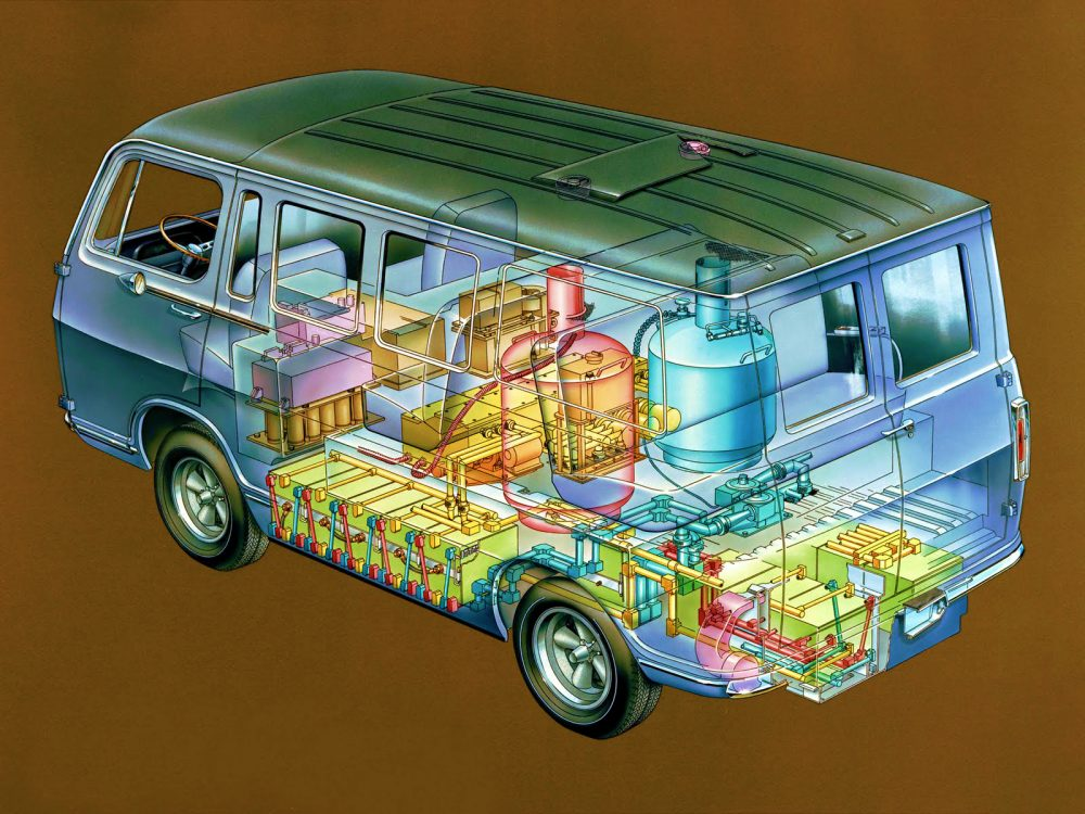 The General Motors Electrovan, the first transfer of fuel cell technology from President John F. Kennedy's challenge to NASA to safely land a man on the moon by the end of the 1960s. (Courtesy General Motors)