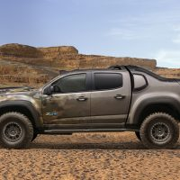 The Chevrolet Colorado ZH2 fuel cell electric vehicle, a concept that marries fuel cell technology and its advantages of on-board water production, exportable electric power and near silent operation with extreme off-road capability. (Courtesy General Motors)