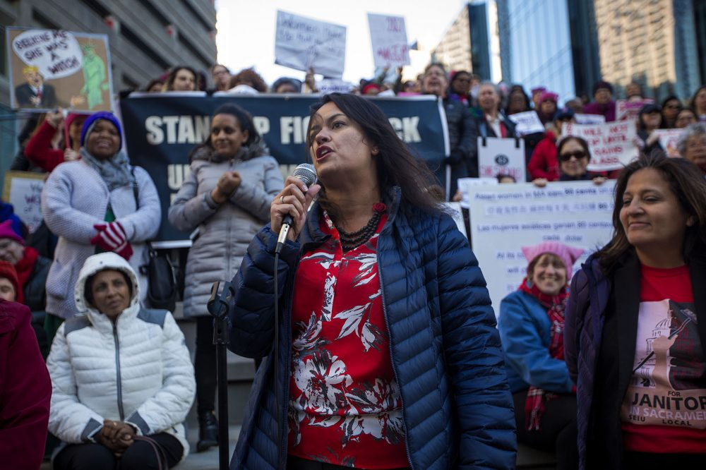 "Boston City Councilor-at-Large Annissa Essaibi-George spoke during the ""A Day Without Women"" rally at Downtown Crossing. (Jesse Costa/WBUR)"