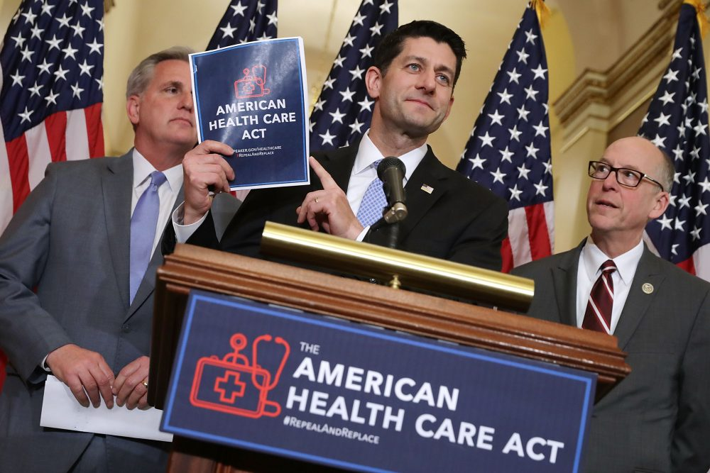 Speaker of the House Paul Ryan (R-WI) (center) holds up a copy of the American Health Care Act during a news conference on March 7, 2017 in Washington, D.C. (Chip Somodevilla/Getty Images)