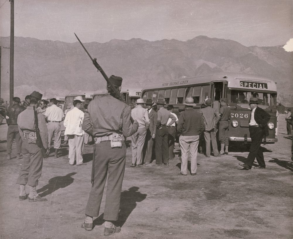 Manzanar concentration camp in California, ca. 1942. (Courtesy Japanese American National Museum, gift of Jack and Peggy Iwata)