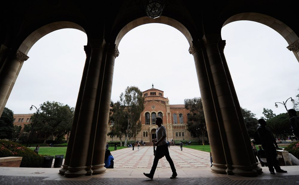 A student walks near Royce Hall on the campus of UCLA on April 23, 2012 in Los Angeles, Calif. (Kevork Djansezian/Getty Images)