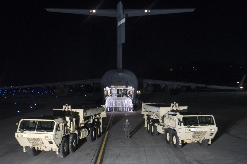 In this photo provided by U.S. Forces Korea, trucks carrying parts of U.S. missile launchers and other equipment needed to set up Terminal High Altitude Area Defense (THAAD)  missile defense system arrive at Osan air base in Pyeongtaek, South Korea, Monday, March 6, 2017. The US military has begun moving equipment for the controversial missile defense system to ally South Korea. The announcement Tuesday by the U.S. military comes a day after North Korea test-launched four ballistic missiles into the ocean near Japan. (U.S. Force Korea via AP)