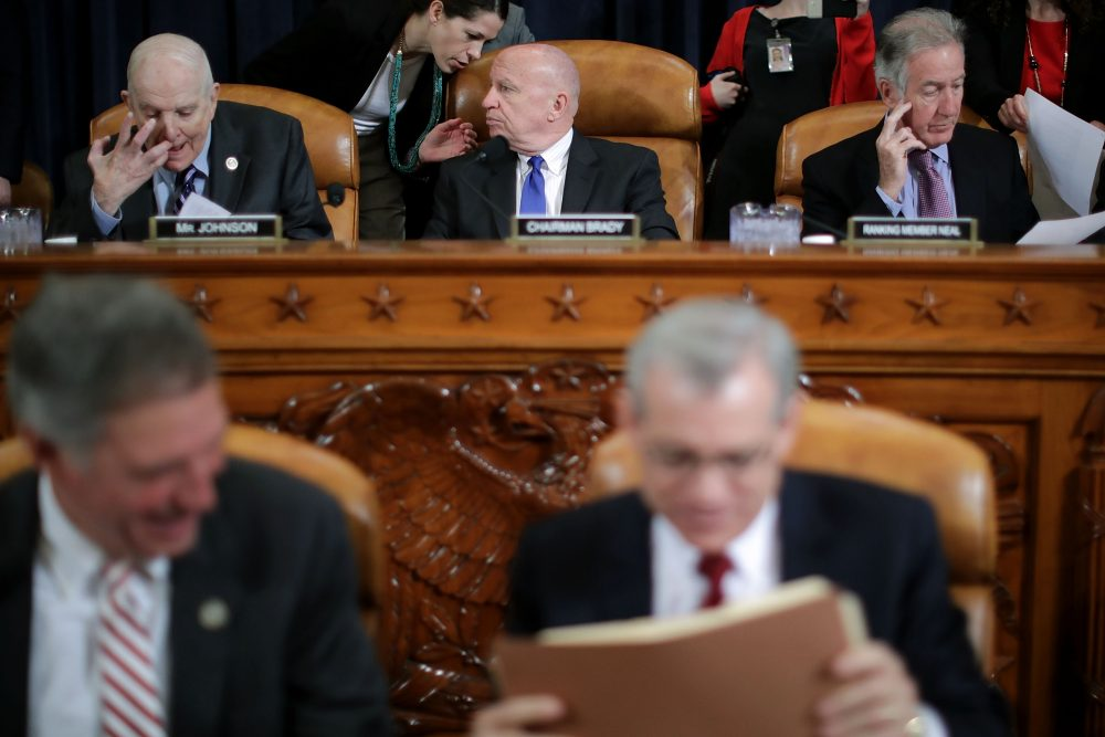 House Ways and Means Committee Chairman Kevin Brady (R-TX) (center), Rep. Sam Johnson (R-TX) (left) and ranking member Rep. Richard Neal (D-MA) hold a markup hearing to begin work on the proposed American Health Care Act, the Republican attempt to repeal and replace Obamacare, on Capitol Hill on March 8, 2017 in Washington, D.C. (Chip Somodevilla/Getty Images)