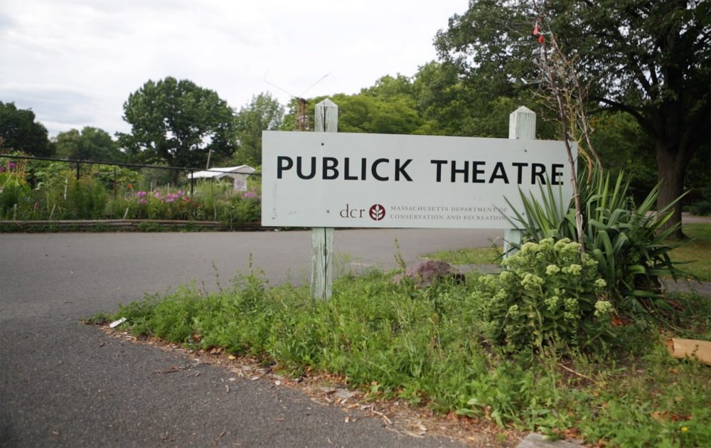 The sign for the now-defunct Publick Theatre at Christian Herter Park as seen in August 2014. (Jesse Costa/WBUR)