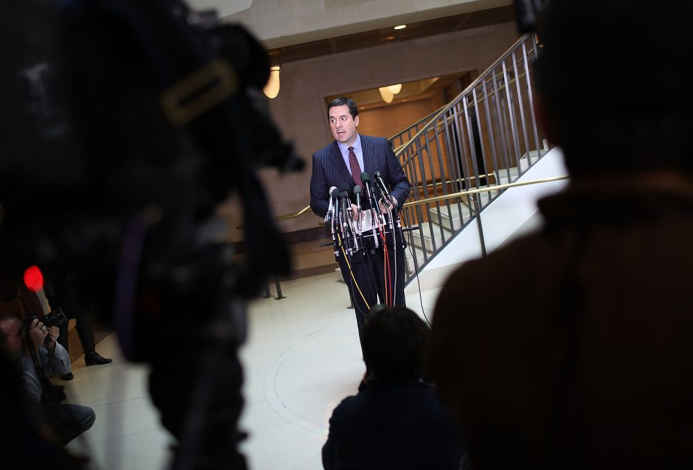 House Intelligence Committee Chairman Devin Nunes (R-CA) speaks to reporters during a news conference at the U.S. Capitol on March 22, 2017 in Washington, D.C. (Win McNamee/Getty Images)