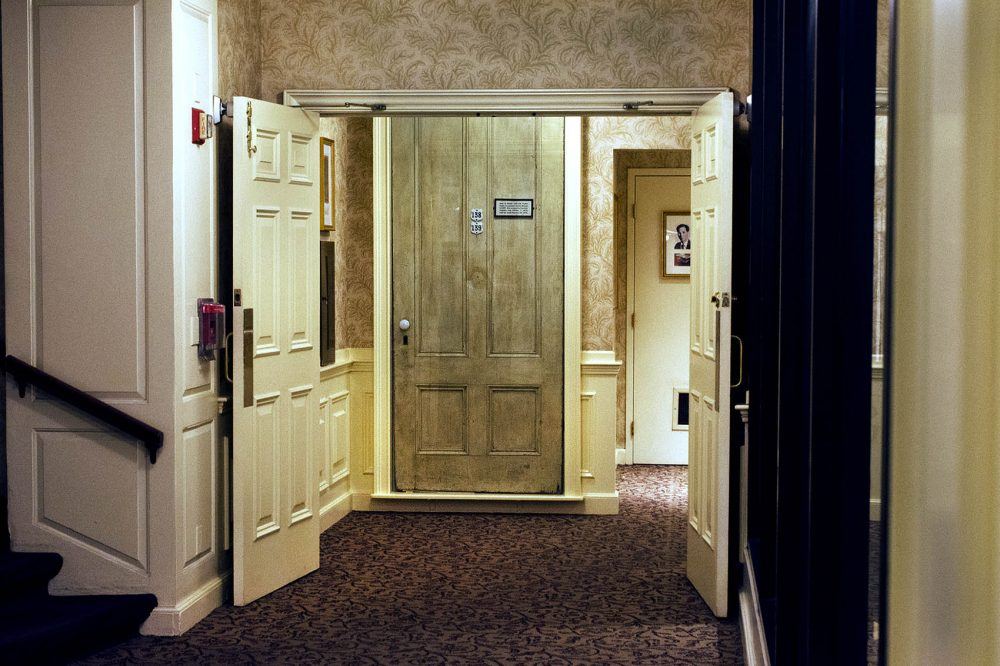 The door to Charles Dickens' suite at the Parker House Hotel when he visited in 1867-68 is still in the hotel today -- but on display. (Courtesy Susan Wilson)