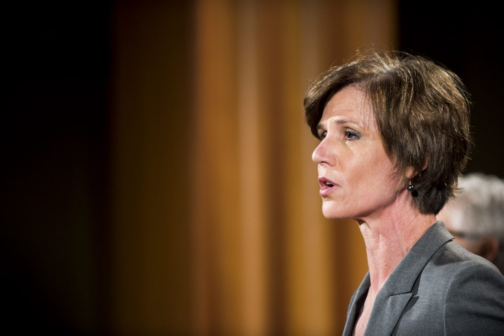 Former acting attorney general Sally Yates speaks during a press conference at the Department of Justice on June 28, 2016 in Washington. (Pete Marovich/Getty Images)