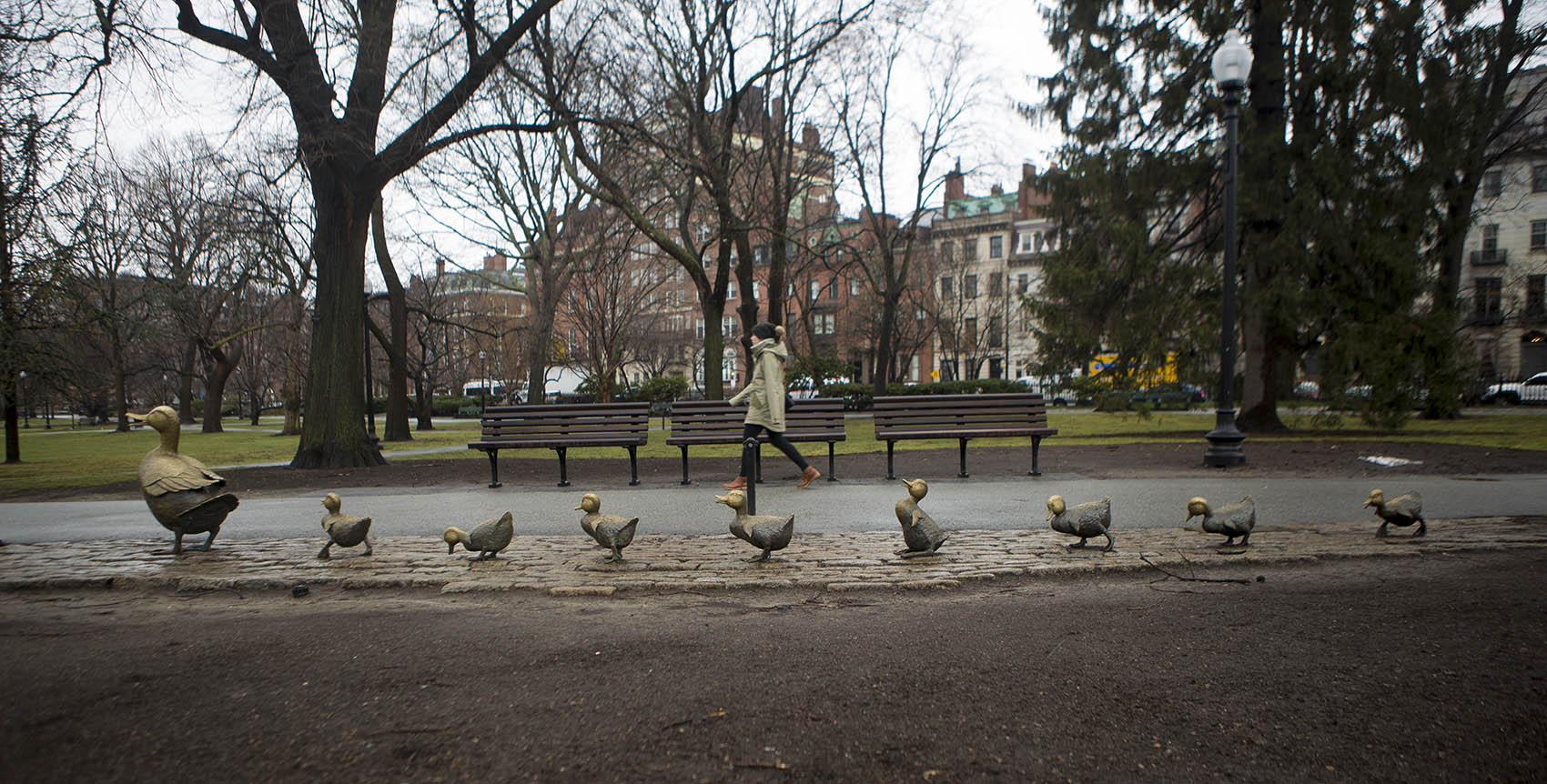 "The ""Make Way For Ducklings"" sculpture in the Public Garden in Boston. (Jesse Costa/WBUR)"