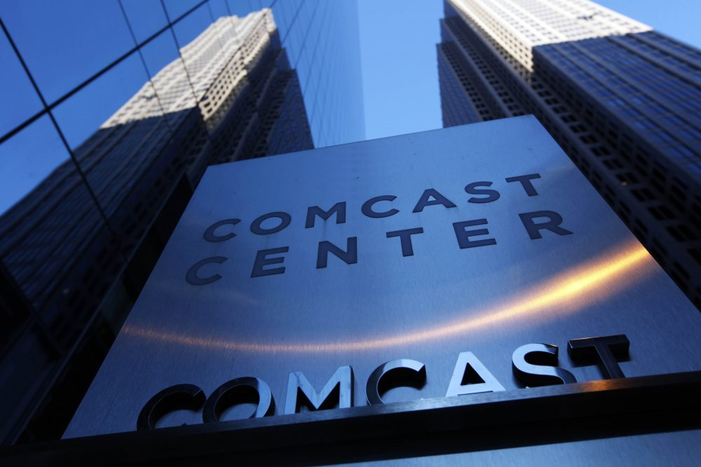 In this Dec. 3, 2009, file photo, a sign outside the Comcast Center is seen in Philadelphia. (Matt Rourke/AP File)