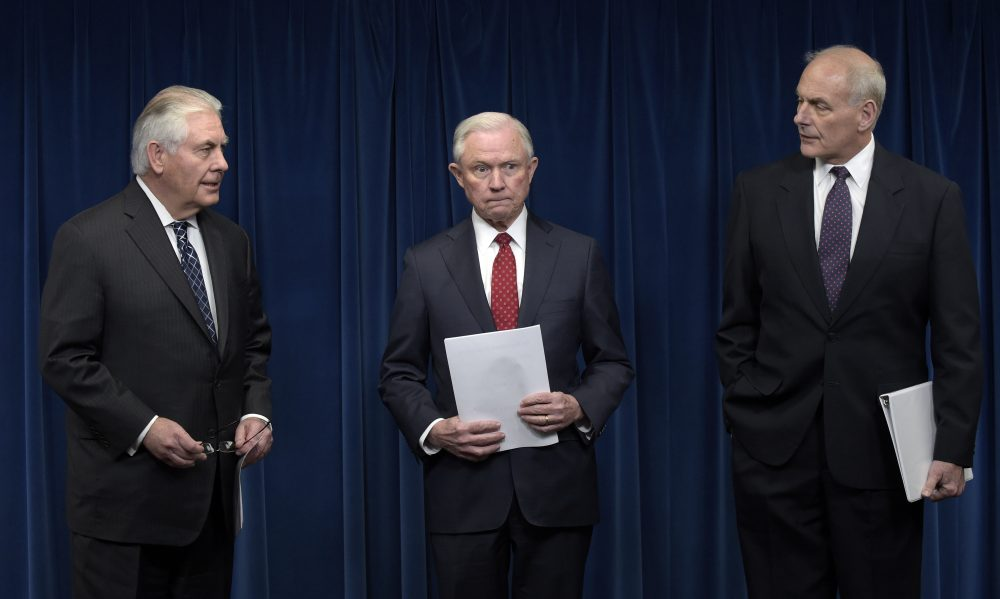 From left, Secretary of State Rex Tillerson, Attorney General Jeff Sessions and Homeland Security Secretary John Kelly arrive for a news conference Monday to make statements about President Trump's new executive order on visas and travel. (Susan Walsh/AP)