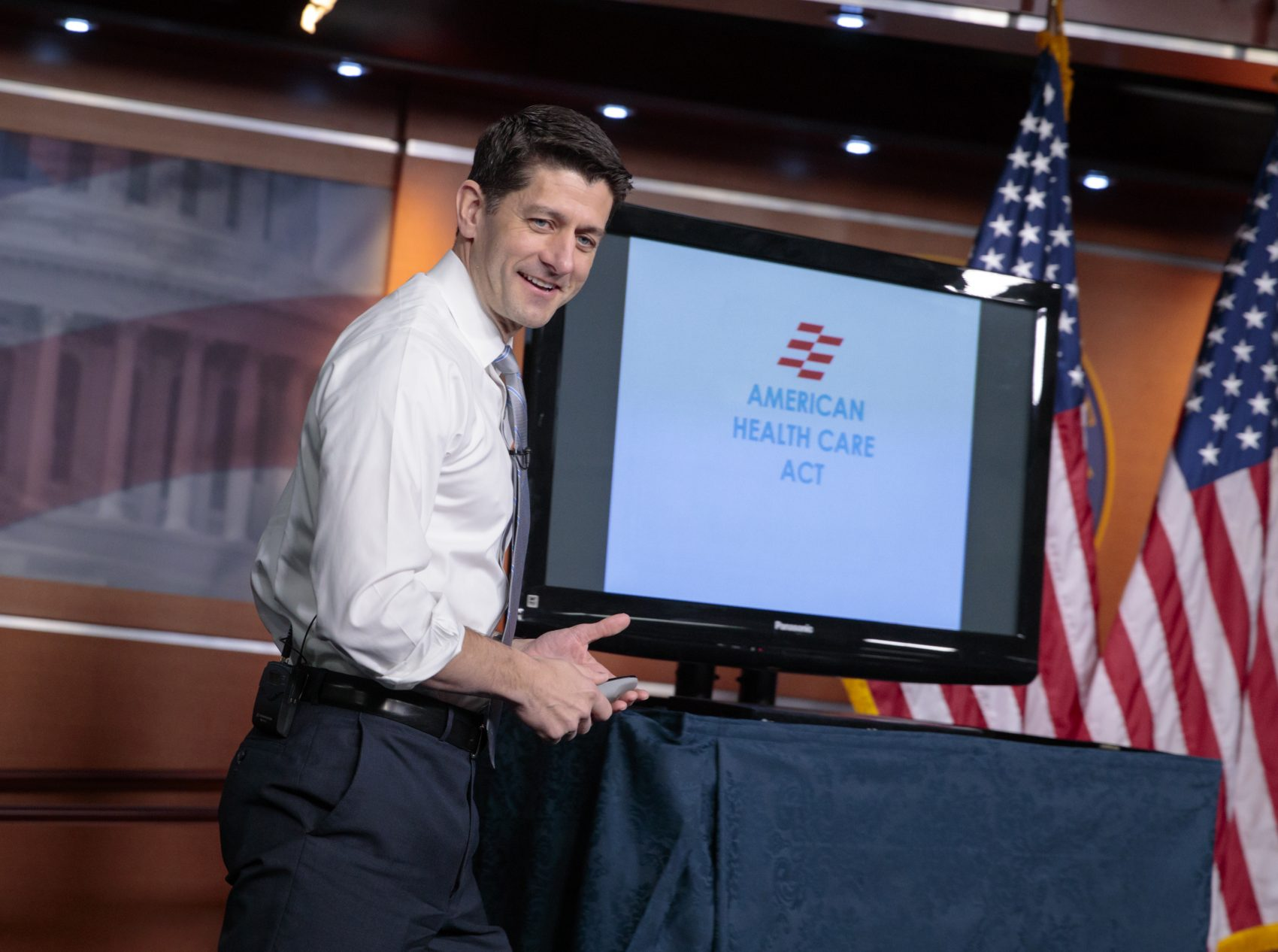 House Speaker Paul Ryan uses charts and graphs to make his case for the GOP's plan to repeal and replace the Affordable Care Act on March 9. (J. Scott Applewhite/AP)