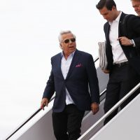 Pictured: New England Patriots owner Robert Kraft, left, disembarks Air Force One at Andrews Air Force Base, Md., Sunday, March 19, 2017. Chief White House Strategist Steve Bannon is at right. Kraft flew on Air Force One with President Donald Trump, who is returning from a trip to his Mar-a-Lago estate in Palm Beach, Fla. (Manuel Balce Ceneta/AP)
