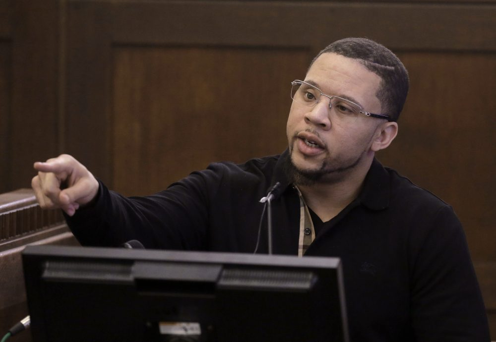 Alexander Bradley testifies during the double murder trial for former New England Patriots tight end Aaron Hernandez in Suffolk Superior Court Monday. (Steven Senne/AP/Pool)