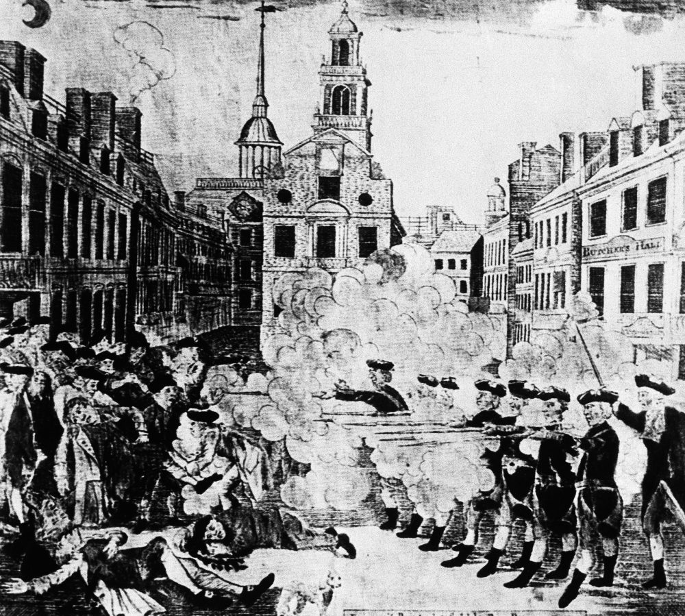 In this image provided by the U.S. Army Signal Corps, British troops fire at colonists in Boston, Mass., in the Boston Massacre, March 5, 1770. Five colonists were killed. It is believed that this incident spurred the American Revolution. (U.S. Army Signal Corps/AP)