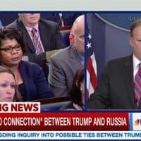American Urban Radio Network White House Correspondent April Ryan (L) questions Press Secretary Sean Spicer in a March 28, 2017 White House press conference. (Screengrab via MSNBC)