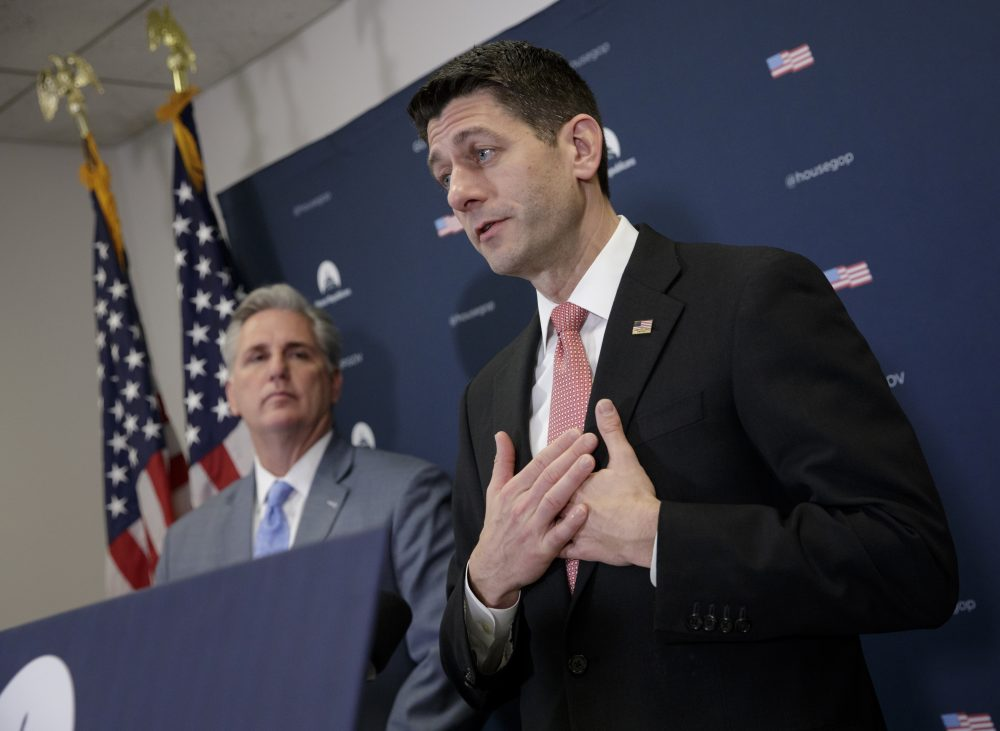 It's called Obamacare, writes Rich Barlow, and, by the way, it's not exploding. Pictured: House Speaker Paul Ryan and Majority Leader Kevin McCarthy of Calif., talk about getting past the failure to pass a health care overhaul bill. (J. Scott Applewhite/AP)