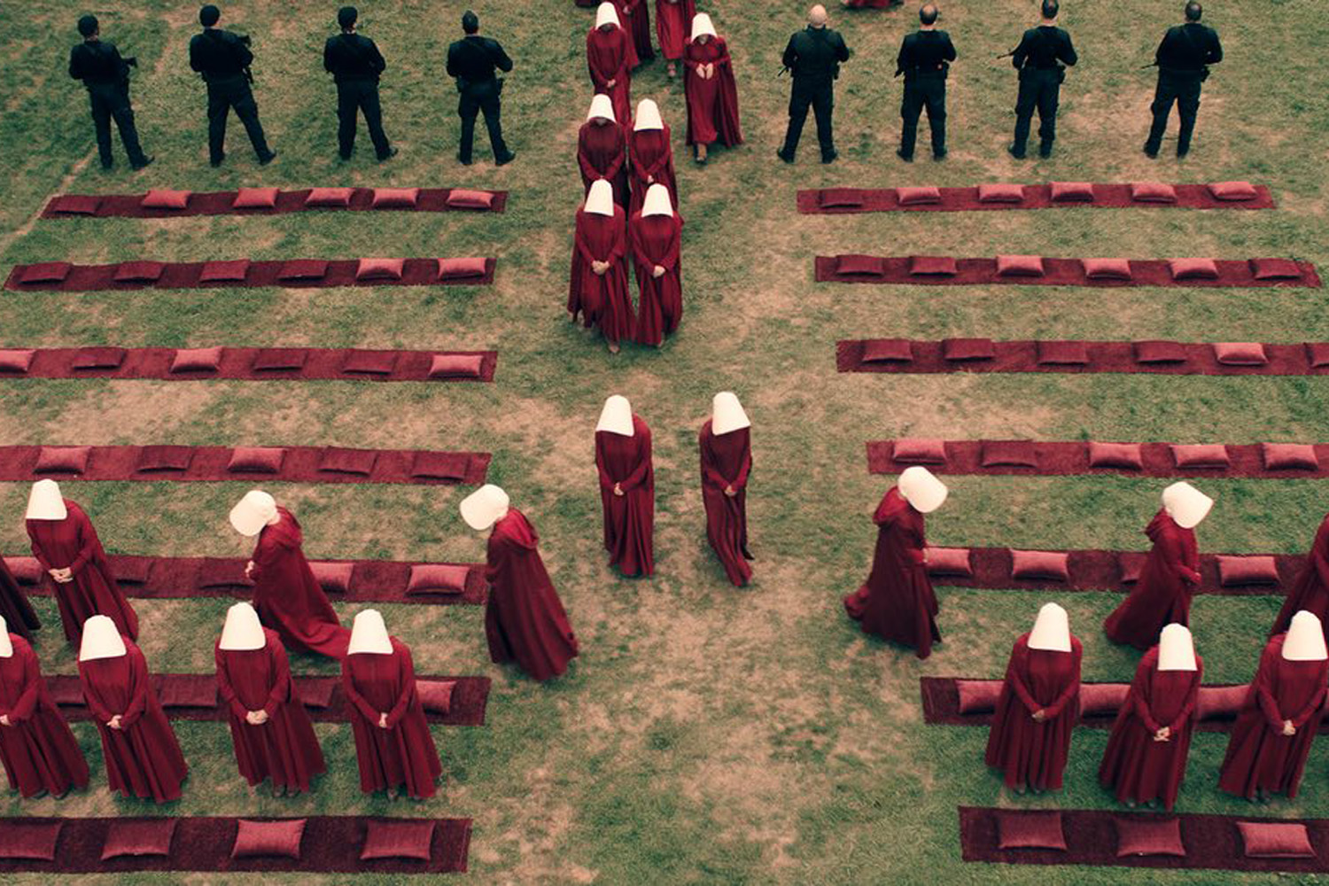 "A still from the upcoming Hulu TV series adaptation of Margaret Attwood's 1985 dystopian novel, ""The Handmaid's Tale."" (Courtesy Hulu)"