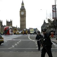 Police secure the area on the south side of Westminster Bridge close to the Houses of Parliament in London. (Matt Dunham/AP)