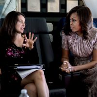 Sarah Hurwitz with Michelle Obama on the way to Santa Fe, N.M. (Chuck Kennedy/The White House)
