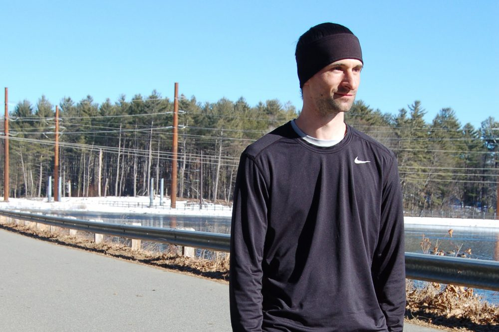 Released from jail more times than he can count, Keith Giroux had something to focus on in fall of 2016: running the Boston Marathon. (Shira Springer/WBUR)