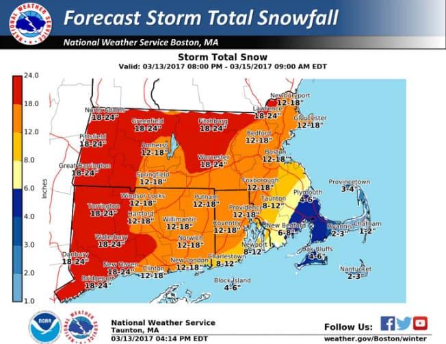 Mass Braces For Late Winter Snowstorm Wbur News - Us-weather-service-map