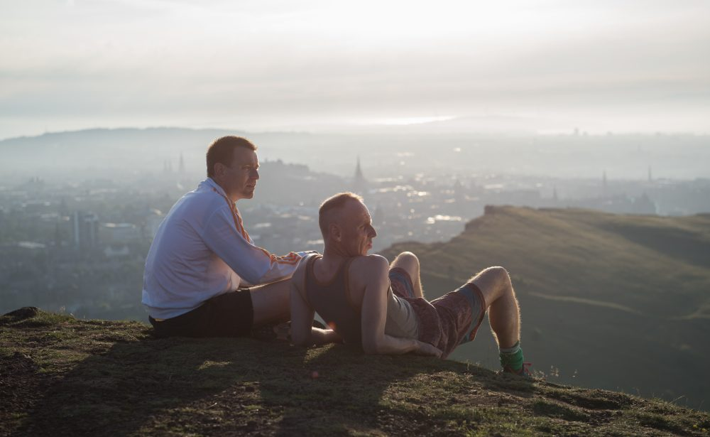"Mark and Spud after their run on top of Arthur's Peak in ""T2 Trainspotting."" (Courtesy Graeme Hunter/CTMG, Inc.)"