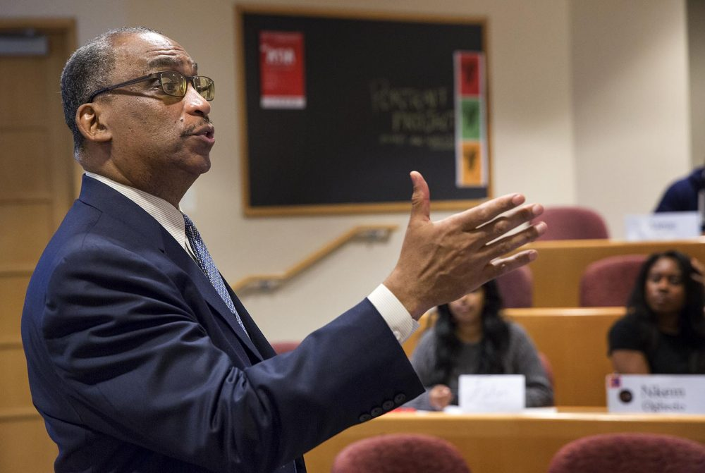 Harvard Business School Professor Steven Rogers is trying to diversify the school's case studies to include more stories about black business leaders. Harvard's catalog of around 10,000 case studies are used all over the world.  (Robin Lubbock/WBUR)