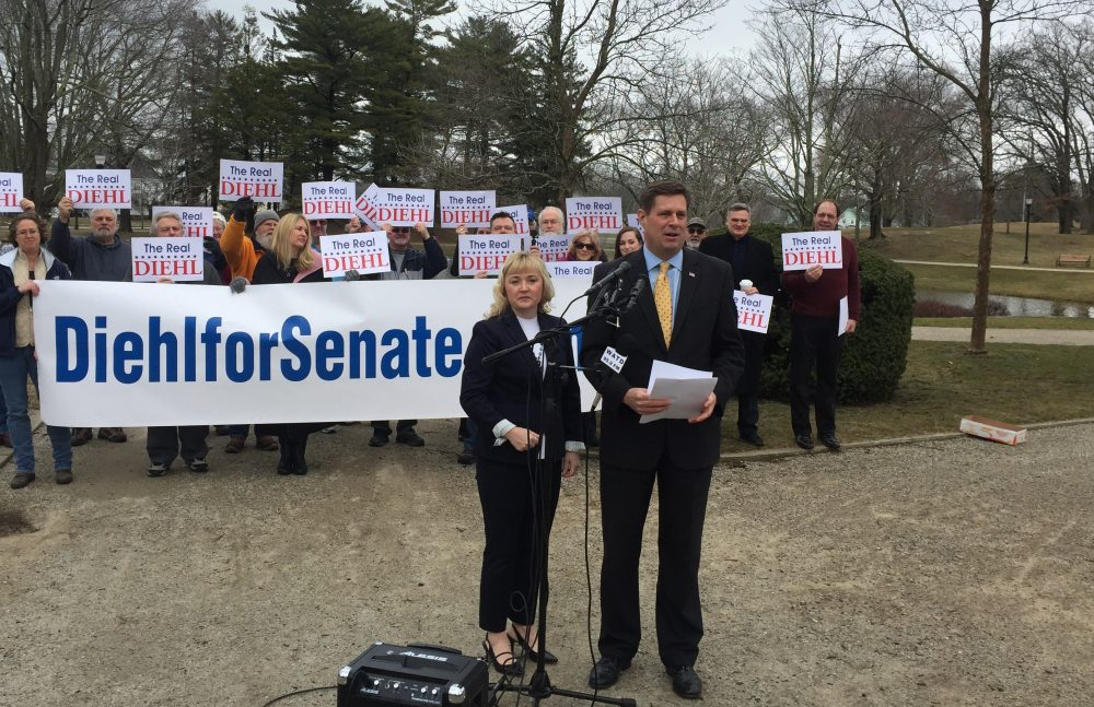 Republican state Rep. Geoff Diehl, with his wife KathyJo, on Wednesday announced his plans to explore a run for U.S. Senate. (Matt Murphy/SHNS)